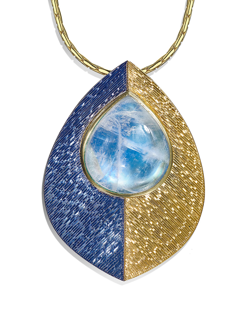 "<a href=""/node/269"">""DROP OF MOONLIGHT""  Silver and 18ct gold, Gilding and Rhodium plate / Hand Engraved / Set with drop cabouchon Moonstone  photo : Simon B Armitt 2017</a>"